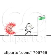 Stick Man Wearing A Mask Being Chased By The Coronavirus And Running To An Exit