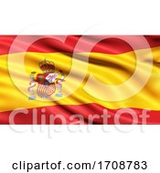 3D Illustration Of The Flag Of Spain Waving In The Wind