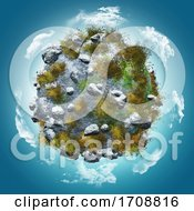 3D Globe With Rocks And Grasses On A Blue Sky With Clouds