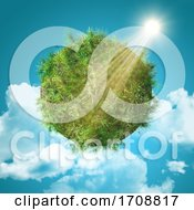 3D Grassy Globe On A Sunny Blue Sky Background With Fluffy Clouds