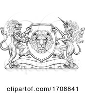 Poster, Art Print Of Coat Of Arms Unicorn Lion Crest Shield Family Seal