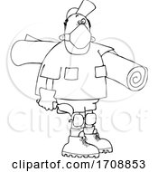 Cartoon Black And White Male Carpet Layer Wearing A Mask And Carrying A Roll And Trowel