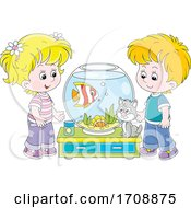 Children With Their Pet Fish And Cat