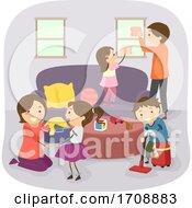 Stickman Family Household Chores Illustration