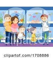 Stickman Family Fish Pet Fish Shop Illustration