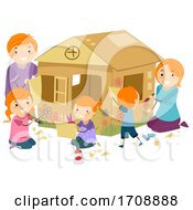 Family Girls Build Cardboard House Illustration