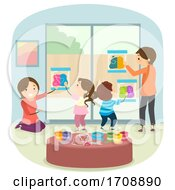 Poster, Art Print Of Family Indoor Activity Mess Free Painting Illustration