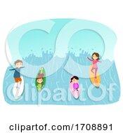 Stickman Family Man Made Surfing Illustration