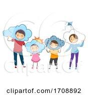Stickman Family Meteorology Weather Illustration