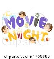 Stickman Family Movie Night Heads Illustration
