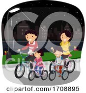 Stickman Family Night Ride Bike Illustration