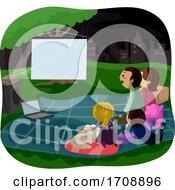 Family Night Picnic Watch Movie Illustration