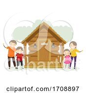 Stickman Family Off Grid Cabin Illustration