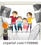 Stickman Family Photoshoot Studio Illustration