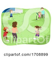 Stickman Family Play Tee Ball Illustration