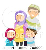 Stickman Family Pregnant Woman Muslim Illustration