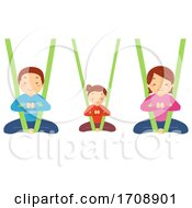 Stickman Family Aerial Yoga Illustration