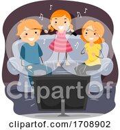 Stickman Family Sing Videoke Illustration