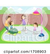 Poster, Art Print Of Stickman Family Splash Pod Backyard Illustration