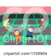 Stickman Family Trampoline Illustration