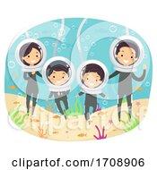 Stickman Family Underwater Pose Illustration