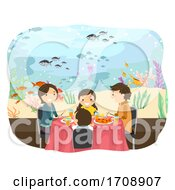Stickman Family Underwater Restaurant Illustration