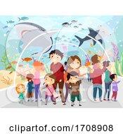 Family Underwater Tunnel Trip Illustration