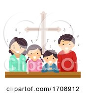 Stickman Family Church Sing Illustration