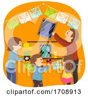 Stickman Family Altar Preparing Illustration