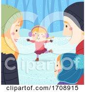 Kid Girl Ice Skate Family Watch Illustration