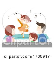 Kid Girl Family Watch Perform Illustration