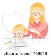 Kid Boy Sad Study Mom Teacher Talking Illustration