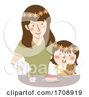 Kid Girl Mother Play Tea Time Illustration