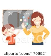 Kid Boy Mom Chore Chart Finish Illustration