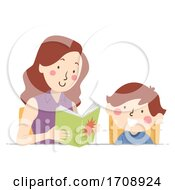 Kid Boy Mom Read Comics Illustration