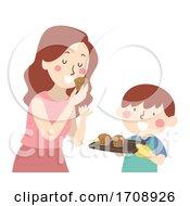 Kid Boy Mom Taste Baked Cupcake Illustration