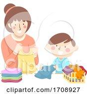 Kid Boy Mom Teach Fold Laundry Illustration