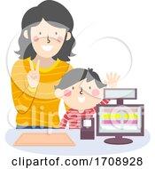 Kid Boy Mom Teach Kid Order Illustration