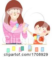 Kid Boy Teach Mom Game Activity Cards Illustration
