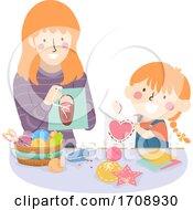 Kid Girl Mom Activity Lacing Card Illustration