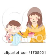 Kid Girl Mom Motivate Cleaning Illustration