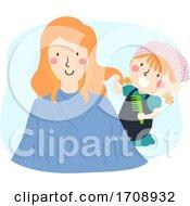 Poster, Art Print Of Kid Girl Mom Role Play Hairdresser Illustration