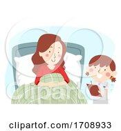 Kid Girl Mom Role Play Nurse Patient Illustration