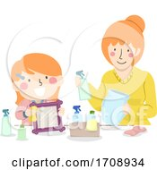 Kid Girl Mom Teach Cleaning Tools Illustration