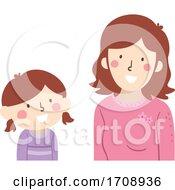 Kid Girl Talk Mom Illustration