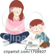 Mom Teach Kid Boy Clean Sweep Floor Illustration