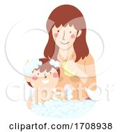 Mom Teach Kid How To Take Bath Illustration