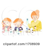 Mom Kids Make Scented Cleaning Spray Illustration