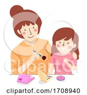 Mom Teen Kid Teach How To Make Up Illustration