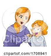 Mom Kid Girl Teach Brush Teeth Illustration